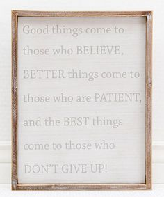 Loving this 'Don't Give Up' Framed Wall Sign on #zulily! #zulilyfinds