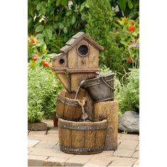 Rustic Bird House Outdoor Water Fountain | Overstock.com Shopping - Great Deals on Outdoor Fountains