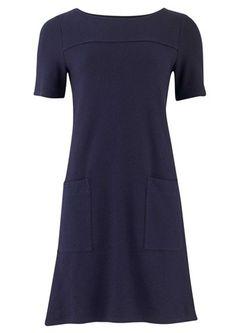 Debby Textured Pocket Dress in Navy