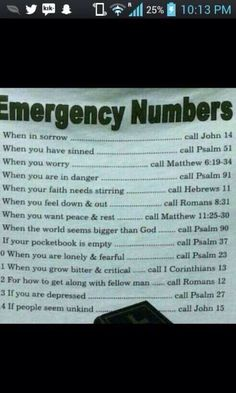 Emergency bible verses !