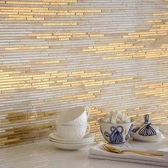 Updating the walls in your kitchen? New Ravenna's Aurora tile is seriously luxe in 24K gold, agate, and quartz   archdigest.com