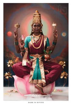 Maa Lakshmi is the Hindu Goddess who governs all form of success and wealth and the paths, means, and results of all forms of abundance and prosperity. Saraswati Goddess, Indian Goddess, Mother Goddess, Goddess Art, Goddess Lakshmi, Mother Kali, Durga Kali, Kali Hindu, Goddess Makeup