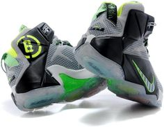 pretty nice c0b8f b9f16 Lebron 12 White Grey Black Green1 Nike Lebron, Air Jordans, Shoes Sneakers,  Loafers