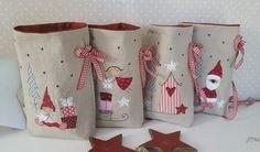 мешки для подарков Fabric Christmas Ornaments, Felt Christmas Decorations, Christmas Gift Bags, Burlap Christmas, Christmas Sewing, Christmas Wrapping, Kids Christmas, Christmas Stockings, Christmas Quilting Projects