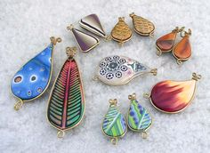 Pendants and earrings from a variety of techniques