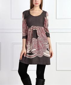 Another great find on #zulily! Charcoal & Red Cloud Scoop Neck Dress #zulilyfinds