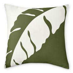 "Sunbrella Outdoor Palm Leaf Jacquard Pillow, 22"" X 22"", Palm"