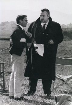 Orson Welles and Pier Paolo Pasolini on the set of Rogopag (1963):