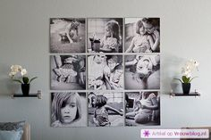 square photo wall... Would be awesome with black and white vacation photos