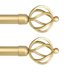 (2 Pack) knobelite Window Treatment Drapery Rods, 1 Inch Diameter Decorative Single Window Curtain Rod, Length from 22 to 42-Inch, Gold Curtain Rod for Windows with Twisting Cage Finials Gold Curtain Rods, Decorative Curtain Rods, Finials For Curtain Rods, Gold Curtains, Drapery Rods, Window Curtain Rods, Window Curtains, Heavy Weight Curtains, Curtain Weights