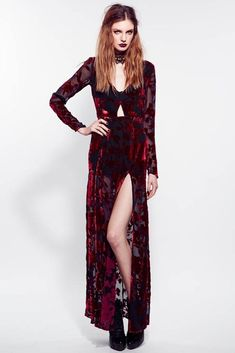 Love this dark look with the sheer and velvet floor length kimono x