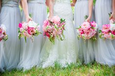 Light Grey Bridesmaids Dresses with Bright Pink Bouquets // Southern Virginia Wedding at Briar Hill – A Private Estate // Dana Cubbage Weddings // Charleston SC Wedding Photography