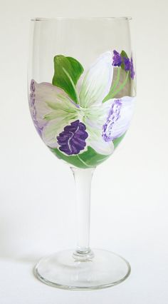 Hand painted White and purple orchids wine by MelissaMuhleckArt
