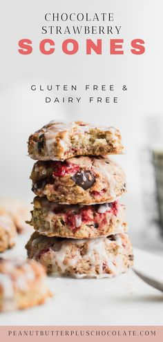 Gluten Free Flour, Vegan Gluten Free, Gluten Free Recipes, Dairy Free, Vegan Recipes, Cooking Recipes, Strawberry Scones, Strawberry Slice, Vegan Scones