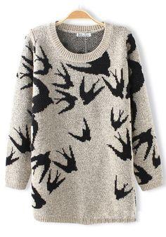 Beige Swallow Print Round Neck Cotton Blend Sweater
