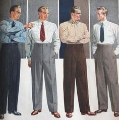 "1940s mens fashion, suits, shirts, ties. The suit trousers were usually flat-fronted or with single pleats. They were worn at the high waist with a 3 inch waist band. Trouser legs were wide around the ankle which are the opposite of today's ""skinny"" suits. Usually they were either straight hemmed at the bottom as required during the war or having 2 inch trouser cuff (turnups) which men preferred"