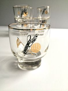 Vintage Golf Low Ball Glasses Gold and Black by AtomicHawks on Etsy