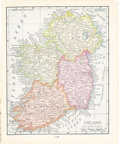 1916 Map Ireland  Vintage Antique Map Great for by Holcroft, $10.00