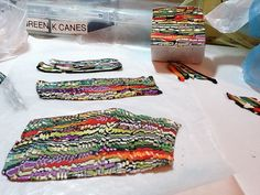 Laura Lang creates a Bargello like veneer from her cane. cooooool.