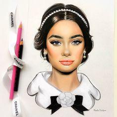 by Natalia Vasilyeva Girl Face Drawing, Fine Art Drawing, Fashion Sketches, Art Sketches, Art Drawings, Amazing Drawings, Amazing Art, Arte Fashion, Face Sketch