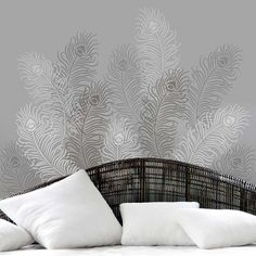 The Peacock Feather Grande wall art stencil from Cutting Edge Stencils. http://www.cuttingedgestencils.com/peacock-feather-stencil-wallpaper-diy-wall-decor.html