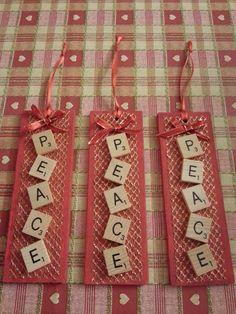 Dec 2014 gift - Peace Tree Decoration using scrabble tiles Scrabble Tiles, Relief Society, Xmas, Christmas, Tree Decorations, Peace, Holiday Decor, Creative, Gifts