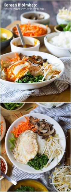 Easy & Healthy Korean Bibimbap - Rice and Veggie Bowl with a Fried Egg and Gochujang Sauce #beef #healthy #Korean