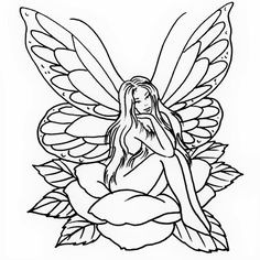 Outline of a sexy fairy tattoo