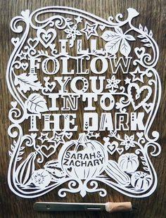 I'll Follow You Into The Dark beautiful paper cutting