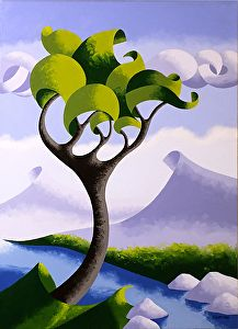 """Mark Webster Artist - Abstract Geometric Landscape 20x16"""" Oil on Canvas."""
