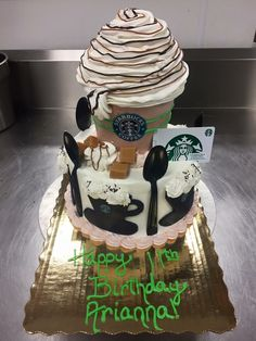 Starbucks cake Chocolate Hummus, I Have Done, Beautiful Cakes, Starbucks, Birthday Cake, Desserts, Food, Tailgate Desserts, Birthday Cakes