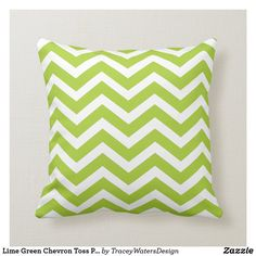 Shop Lime Green Chevron Toss Pillow created by TraceyWatersDesign. Lime Green Cushions, Green Pillows, Toss Pillows, Bright Green, Green Colors, Green Chevron, Chevron Patterns, Decorative Cushions, Perfect Pillow