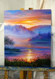 """Landscape Oil Painting on canvas - """"Sunset in the Fog"""" – shop . Oil Painting how to paint with oil paints Acrylic Landscape, Landscape Art, Landscape Edging, Landscape Photography, Landscape Lighting, Landscape Oil Paintings, Sunset Landscape, Paintings Of Landscapes, Sunset Paintings"""