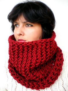 Ruby Red   Mosaic Cowl  Soft Merino   Wool by GiuliaKnit on Etsy, $49.00