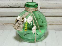 Vasen - Deko - FLASCHE - GRÜN- MUSCHEL - FLACHS - - ein Designerstück von Kunterbuntes-Perlenspiel bei DaWanda