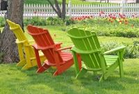brightly colored adirondak chairs