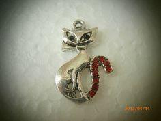 Silver Pewter Cat Charm with Siam Swarovski by CustomCraftJewelry, $7.99