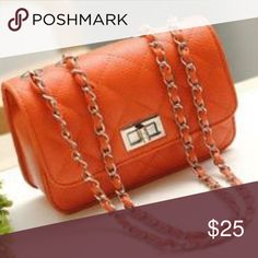 Buenocn Quilted Crossbody NWT. New Classic Quilted Mini Crossbody in Orange with laced metal chain. Bags Crossbody Bags