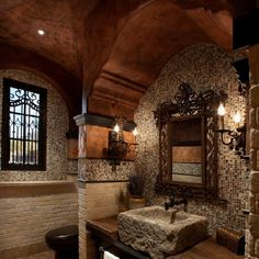 63 Sensational bathrooms with natural stone walls! (image via Est Est Interior Design)