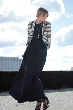 craving a great maxi dress with a blazer right now