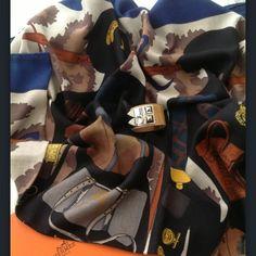 Hermes cashmere/silk Monsieur et Madame shawl, 140 cm....& croc CDC bracelet