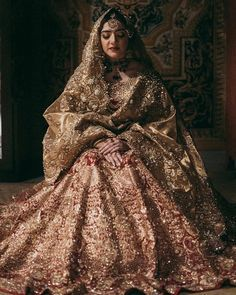 from - How regal does Nada Raja looking at her mehndi in an Ali Xeeshan ensemble with the Pakistani Wedding Outfits, Indian Bridal Outfits, Indian Bridal Fashion, Pakistani Bridal Dresses, Pakistani Wedding Dresses, Wedding Dresses For Girls, Indian Dresses, Pakistani Clothing, Wedding Hijab