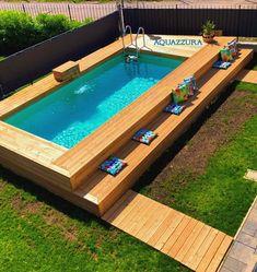 Small Backyard Design, Backyard Pool Designs, Backyard Ideas, Swimming Pools Backyard, Swimming Pool Designs, Piscina Rectangular, Build Your Own Pool, Kleiner Pool Design, Cheap Pool
