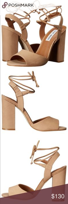 """Steve Madden lace up heels Perfectly on trend! Dressy sandal can be easily worn in fall season!  Leather Synthetic sole Heel measures approximately 4"""" Block-heel sandal featuring wraparound ankle strap with knotted aglets Steve Madden Shoes Heels"""