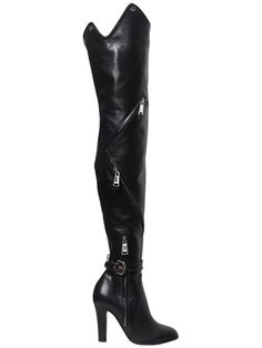 MOSCHINO 100Mm Zips Leather Over The Knee Boots, Black. #moschino #shoes #boots