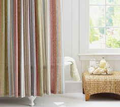 For the bath~~blends all the colors! Carter Stripe Shower Curtain #potterybarn