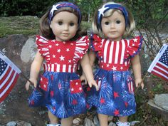 Patriotic outfits for the girls...Sewn by Shirley Fomby - Doll Clothes By Shirley SOLD