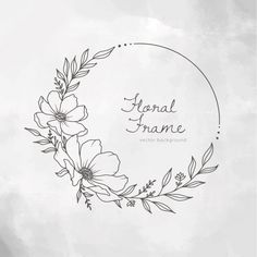 Flower Art Drawing, Wreath Drawing, Floral Drawing, Kreis Tattoo, Wreath Tattoo, Hand Embroidery Patterns Flowers, Hand Drawn Flowers, Paint Background, Frame Wreath