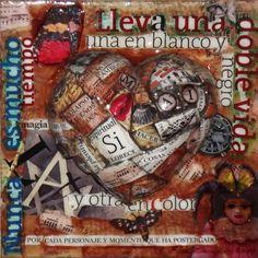 Collage sobre arcilla modelada y  madera. Acrílicos y resina. Elsa Sanguino. 2013
