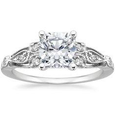 Platinum Rosabel Diamond Ring cushion cut